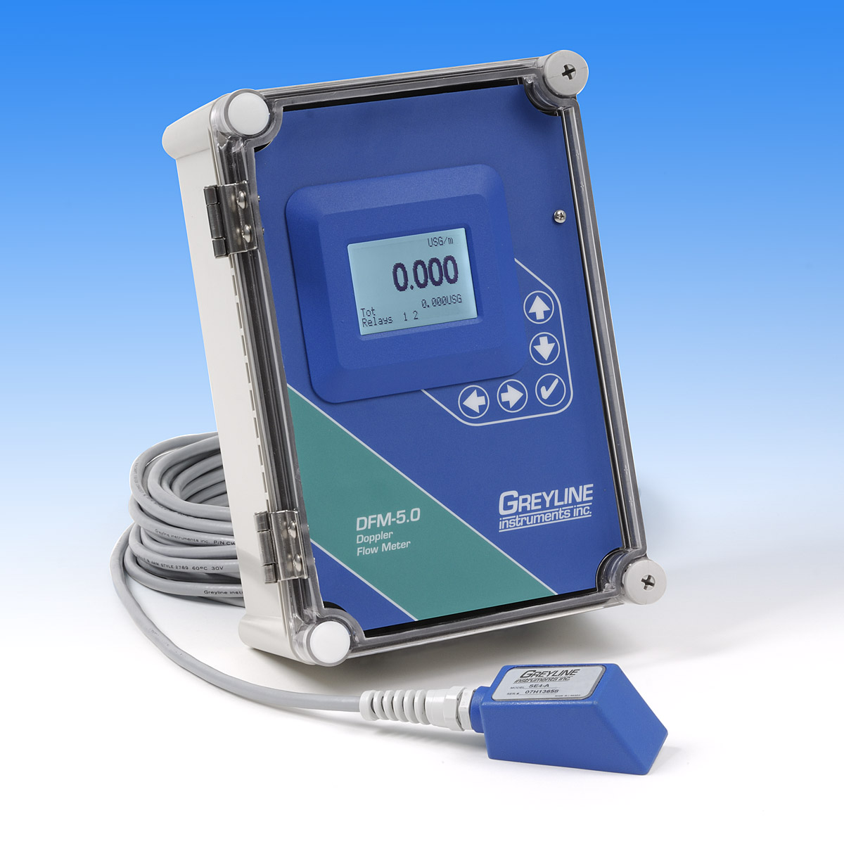 The new DFM 5.0 Doppler Flow Meter from Greyline Instruments measures flow from outside a pipe.