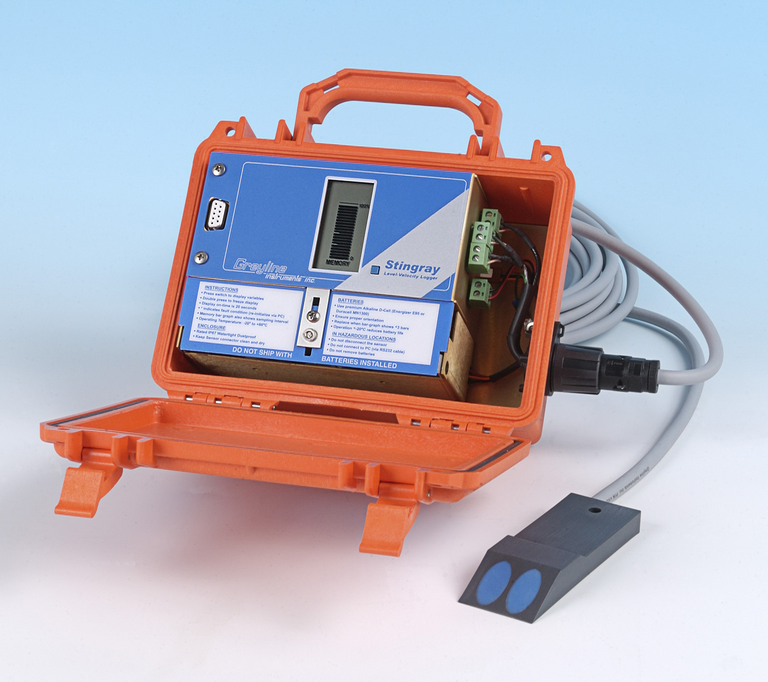 Stingray is a compact, battery-powered logger with an ultrasonic sensor. It data logs level, velocity and water temperature readings for flow monitoring through open channels, partially full sewer pipes and surcharged pipes.