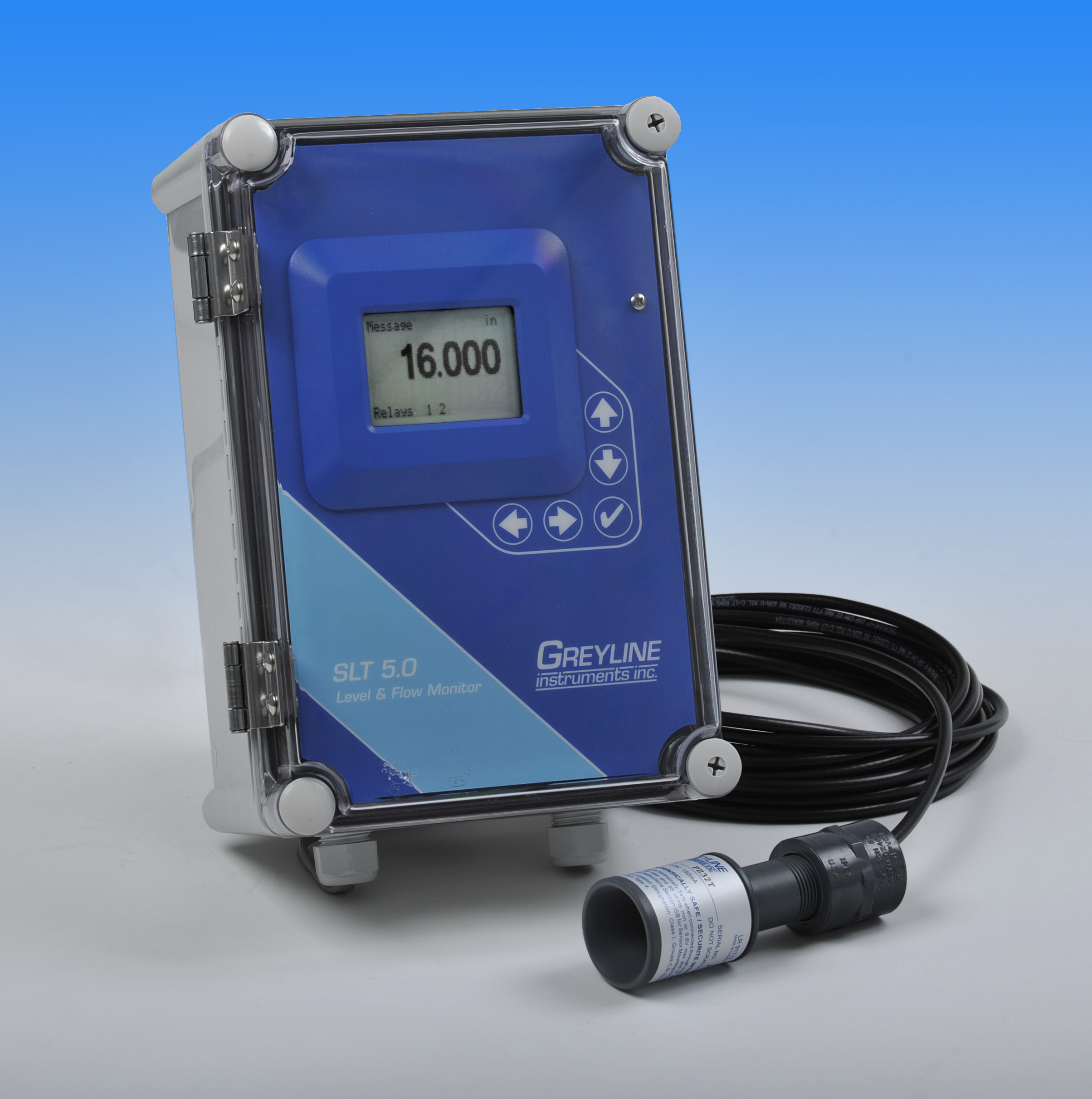 This new SLT 5.0 Level & Flow Monitor from Greyline Instruments features a non-contacting ultrasonic sensor and a simple, built-in 5-key calibration system. The SLT 5.0 can be used as a level transmitter for tank inventory applications with continuous dis