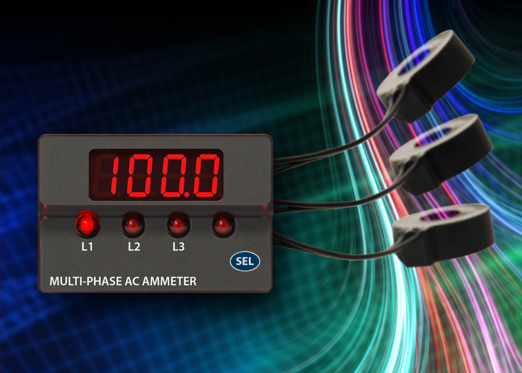 Digital Panel Meter : ACM3P 3-phase AC digital ammeter with built-in current transformers