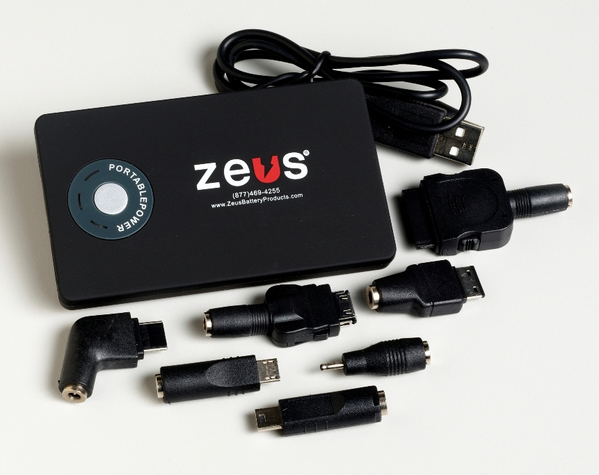 ZEUS Portable Battery Charger Powers USB-enabled devices