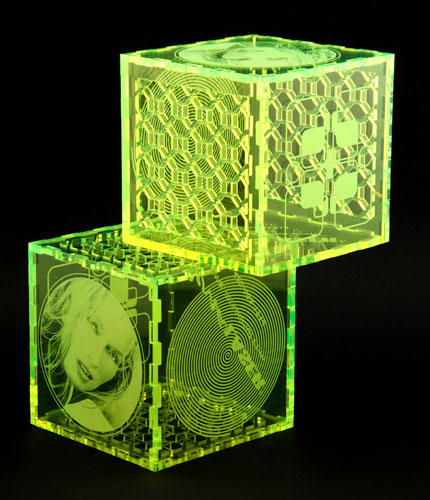 Laser cut and engraved colored acrylic puzzle box