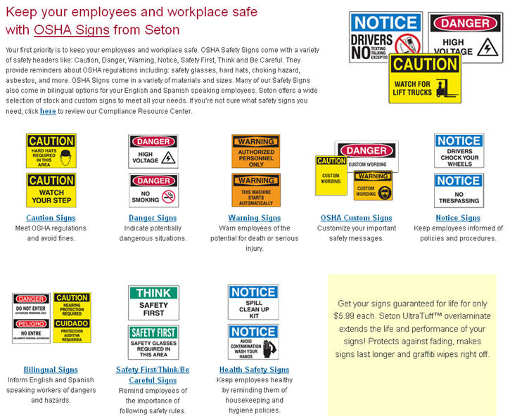 Seton OSHA Safety Labels