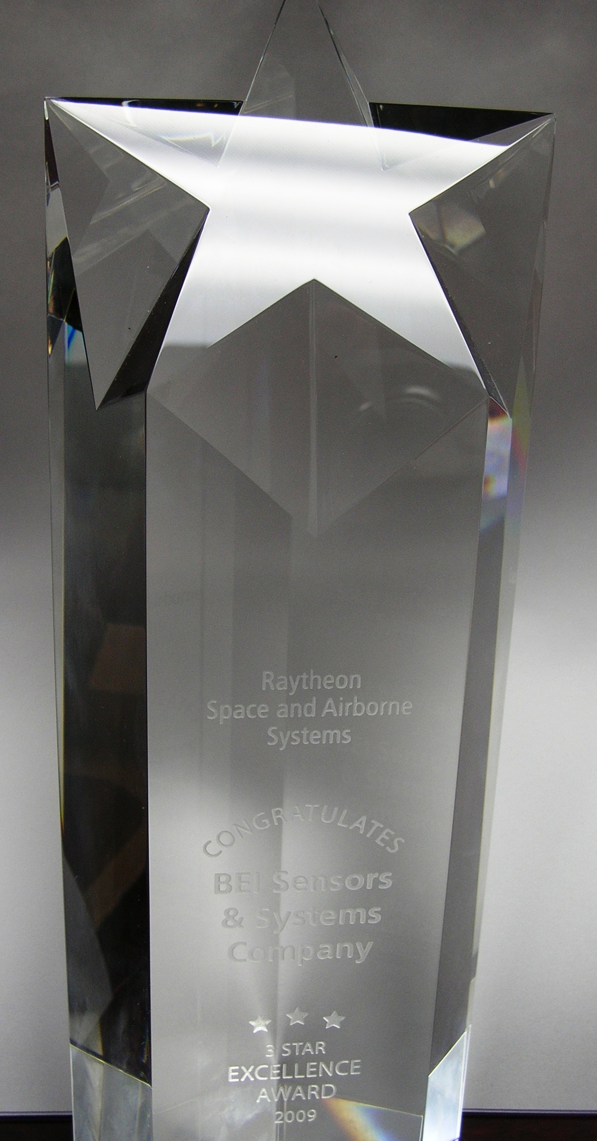 RECOGNIZED FOR EXCELLENCE BY RAYTHEON SPACE AND AIRBORNE SYSTEMS