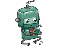 Caricature of a robot repairing itself