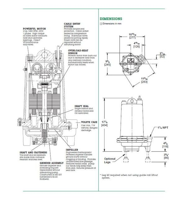 Dimensions (Myers® MG200 Series 2 HP Grinder Pumps)