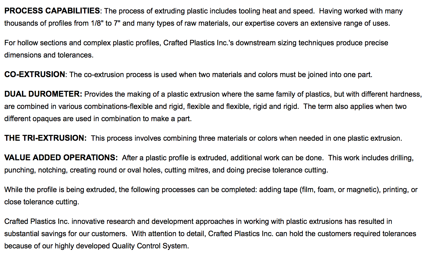Crafted Plastics, Inc  Sheboygan, Wisconsin, WI 53082