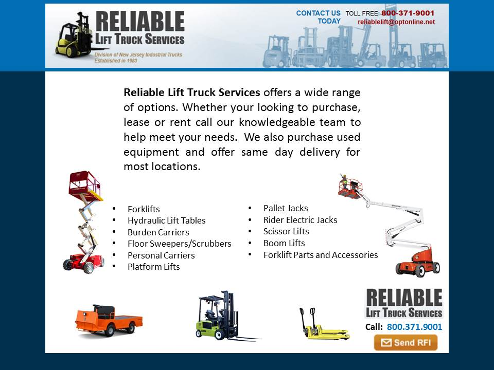 Reliable Lift Truck Services Rockaway, New Jersey, NJ 07866