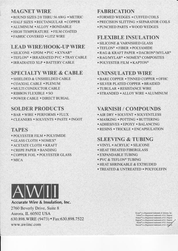 Accurate Wire & Insulation, Inc. Aurora, Illinois, IL 60502