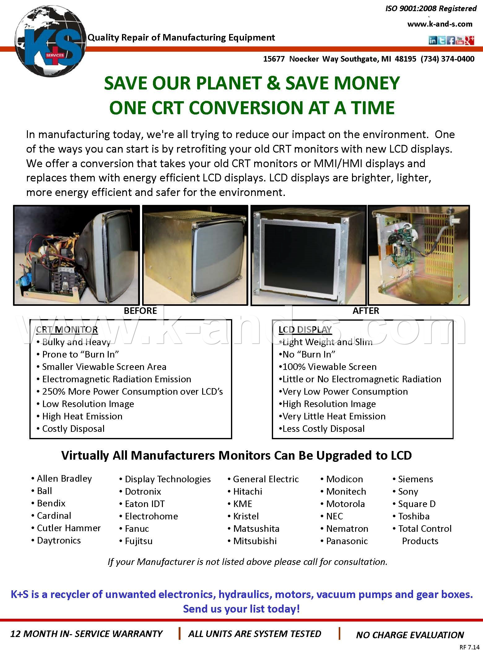 K S Services Inc Southgate Michigan Mi 48195 At Electronics Repair Center We Specialize In Industrial Crt Conversion Inforamtion