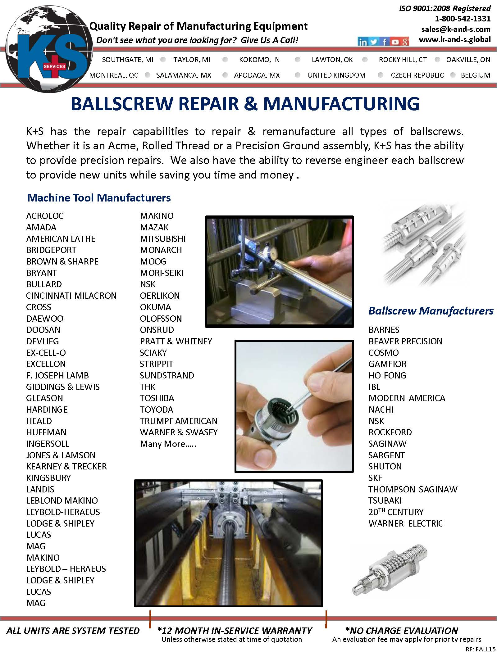 K S Services Inc Southgate Michigan Mi 48195 Electronics Repair Center We Specialize In Industrial Electronic Ballscrew And Manufacturing