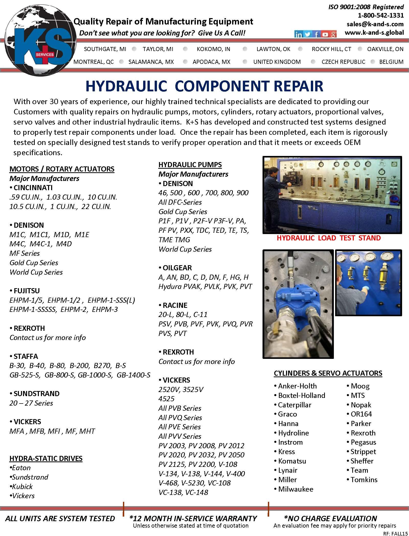K S Services Inc Southgate Michigan Mi 48195 Repair Servo Motor Spindles Valve Service Hydraulic Component