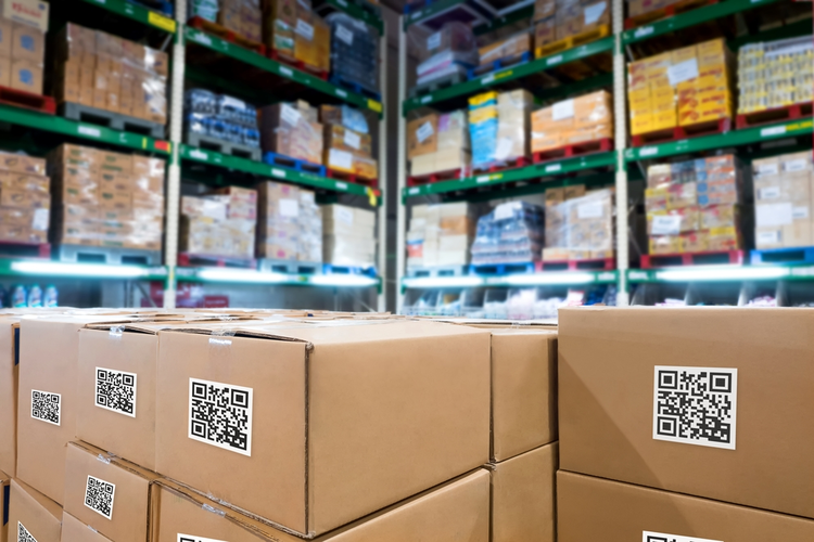 Boxes in warehouse: Inventory management supply chain technology concept.