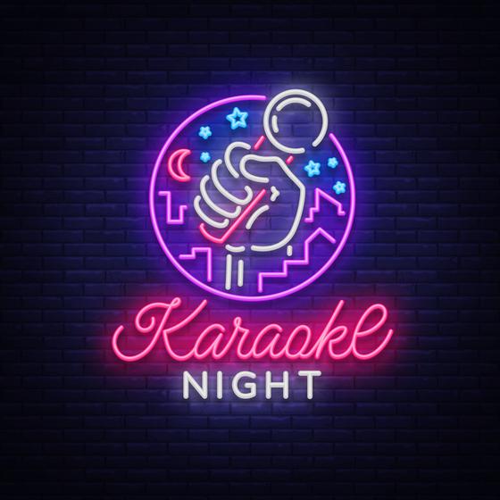 Neon karaoke night sign