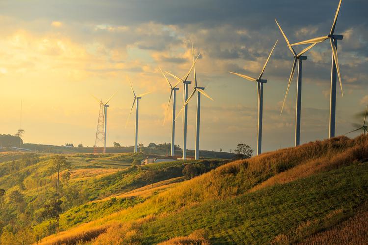 Wind turbines on a sunny morning