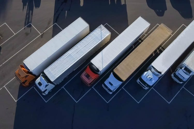 Aerial view of trucks.