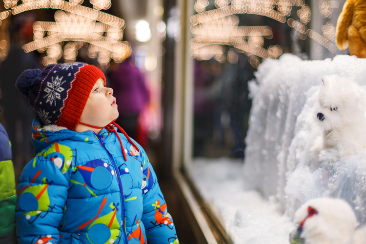 Child looking at holiday toys through a store window