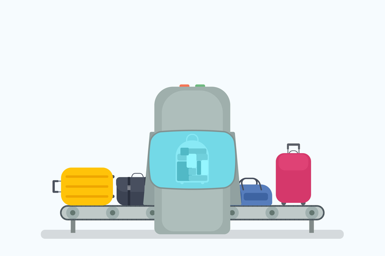 Luggage on conveyor belt, going through the security check and X-ray in an airport.