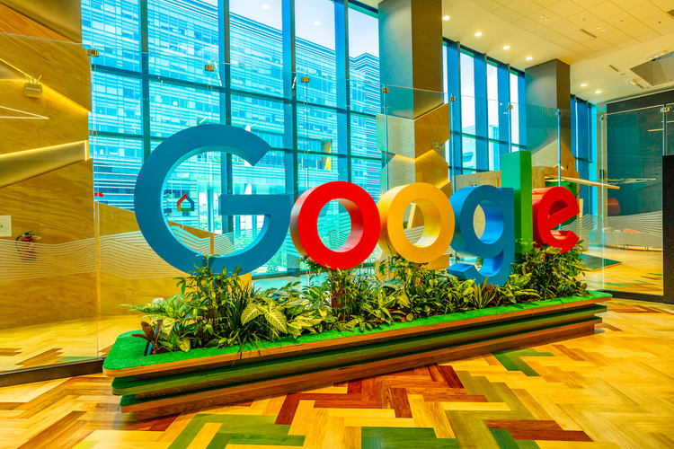 Google logo sign in office building