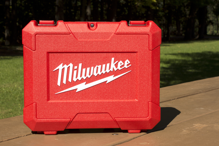 Power tool molded case with Milwaukee Tool logo on it.