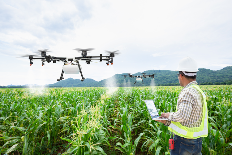 Farmers receiving information from drones.