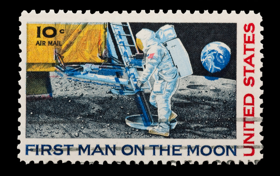 historical stamp from moon landing