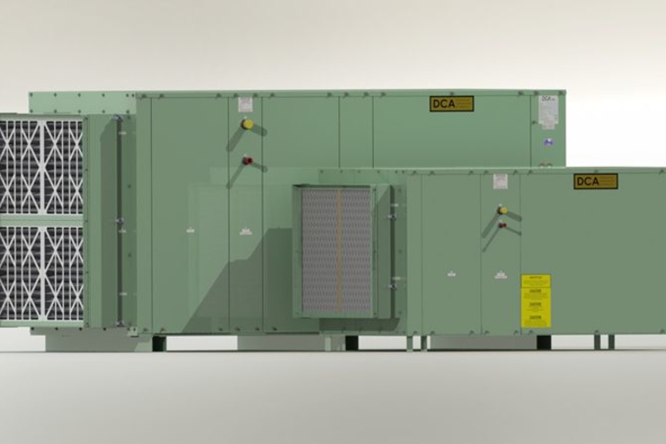 Air-cooled industrial dehumidifier system