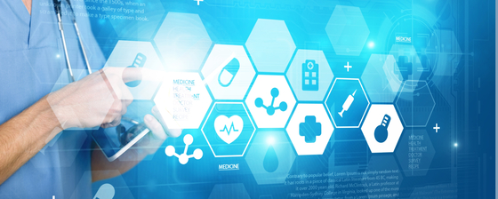 Health care professional using a tablet, with graphics overlaid representing health care supply chain concepts