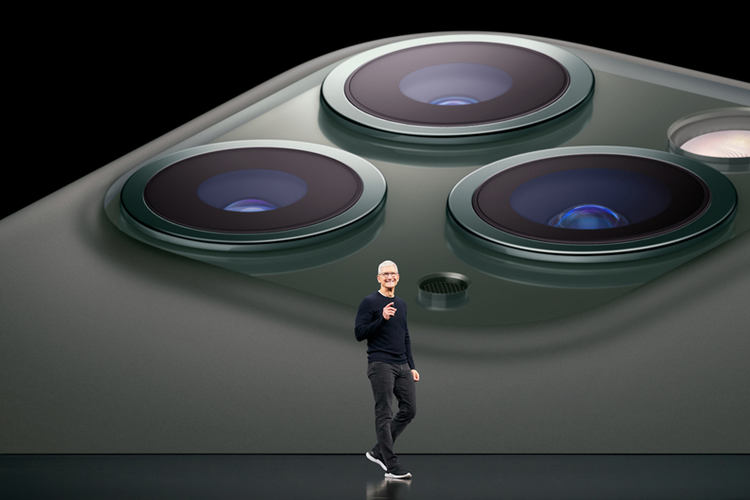 Apple CEO Tim Cook unveils the iPhone 11 Pro at the keynote event