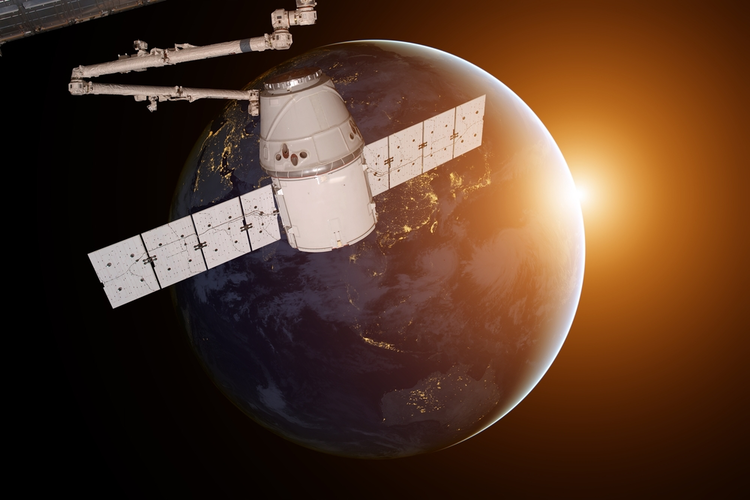 SpaceX Satellite Orbiting Earth