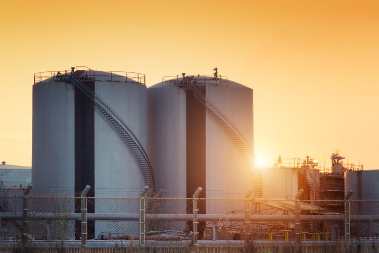 Natural gas storage tanks.