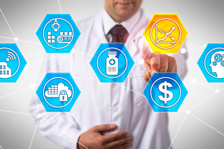 Health care professional interacting with virtual icon chart representing health care supply chain processes