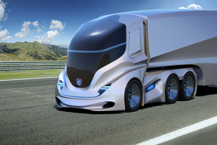3D rendering of automated electric truck driving on highway
