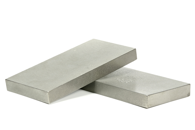 Titanium ingots isolated on white background.