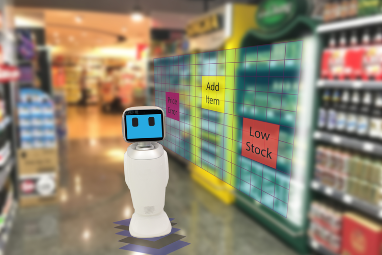 Smart retail concept: robot checking on products.