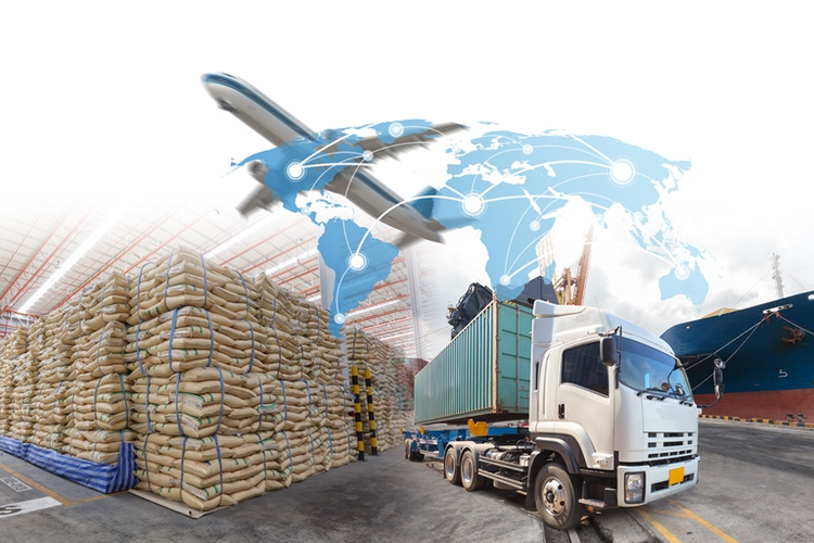Logistics hub with image of world map overlaid and airplane in flight