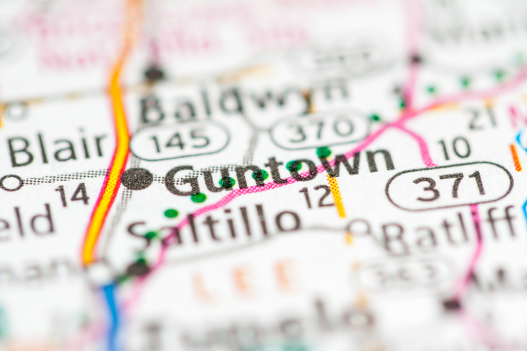 Guntown, Mississippi on a map