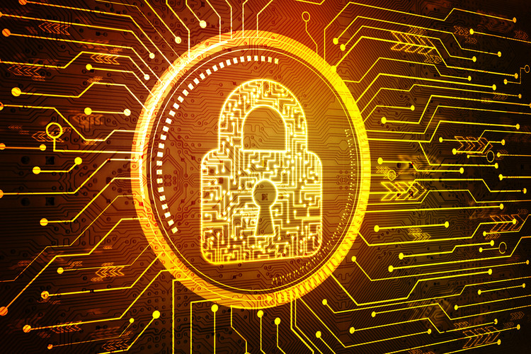 Digitized padlock on digital background to represent concept of cyber security