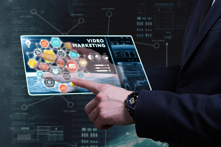 Video marketing concept shown on tablet.