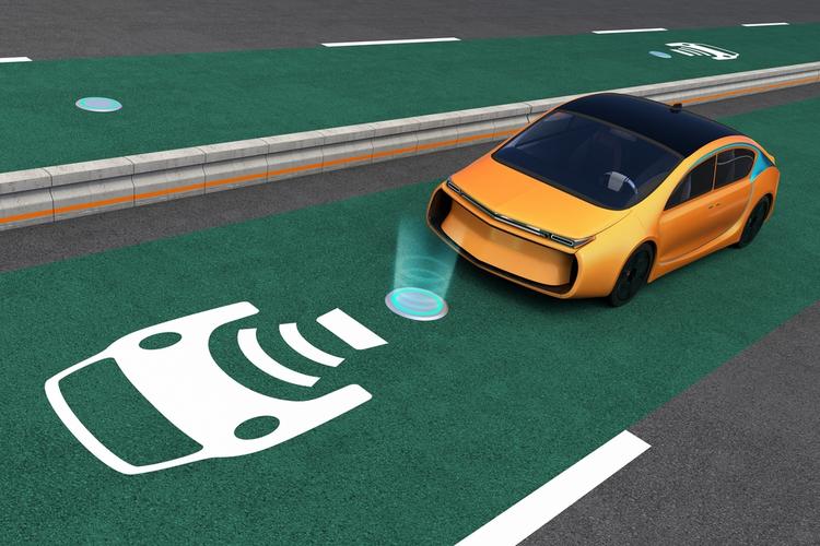 Car on EV wireless charging lane.