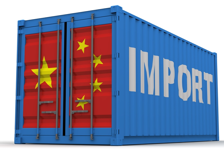 Cargo container with Chinese flag and labeled Import.