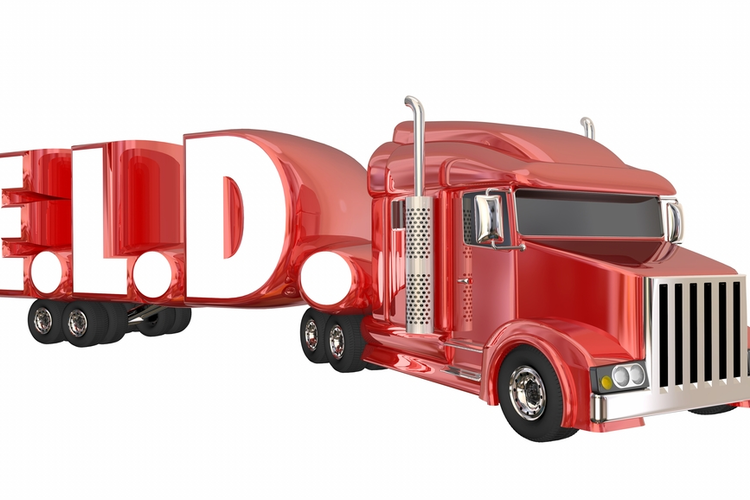 The acronym 'ELD' as a truck body (electronic logging devices for trucking concept).
