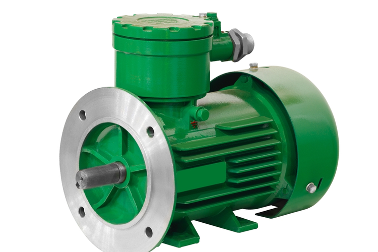 Industrial explosion-proof green asynchronous electric motor generator isolated on white background.