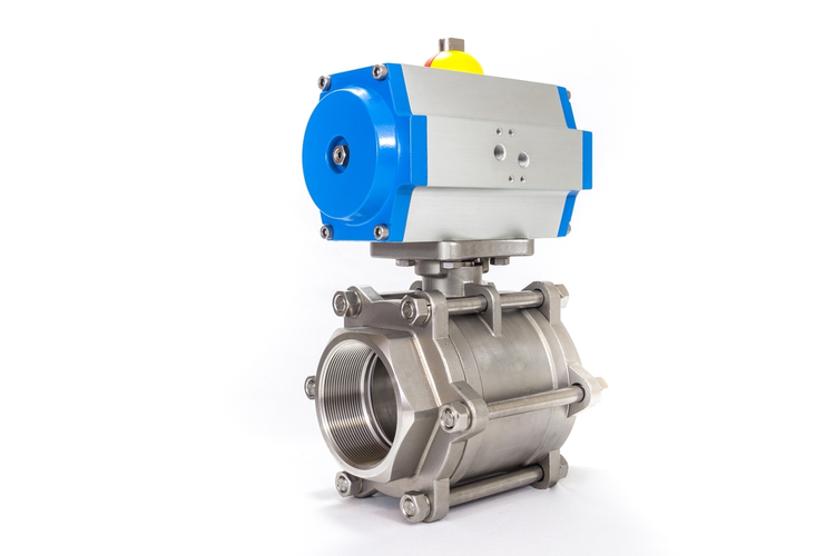 Automated metal valve with blue pneumatic automator.