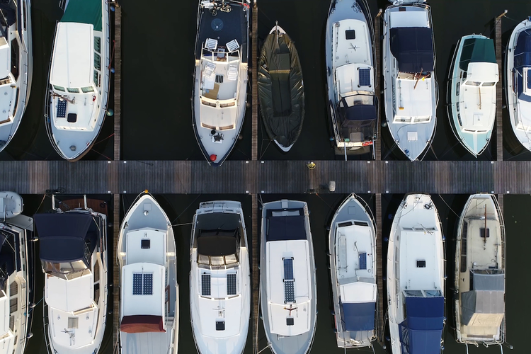 Aerial view of docked boats