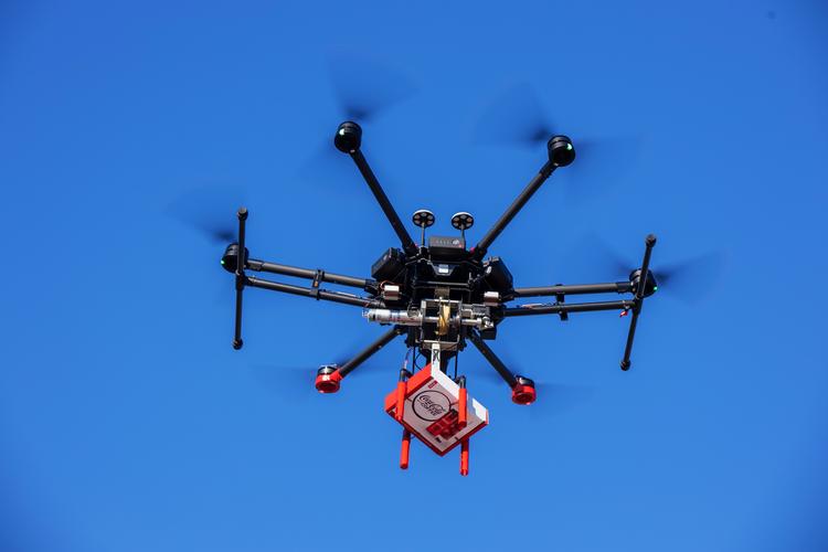 Drone delivering Coca-Cola