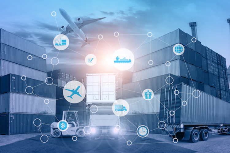 Cargo containers, trucks, and planes overlaid with graphics representing supply chain concepts