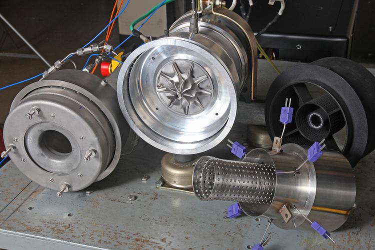 SRI-developed cooled, radial gas turbine.