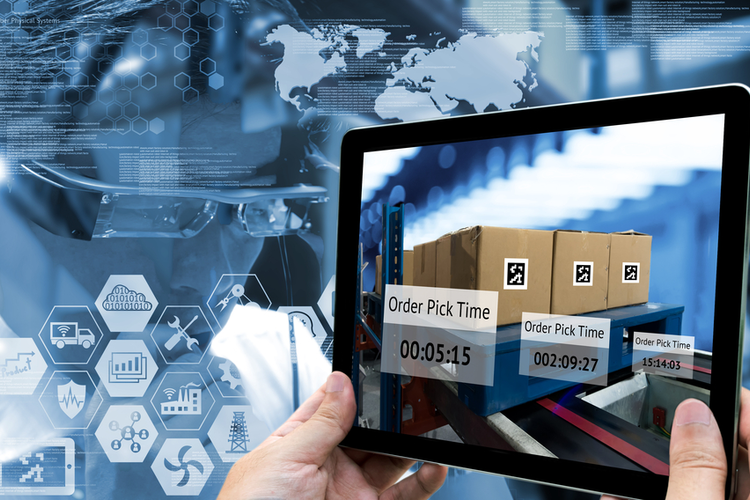 Smart supply chain management and logistics concept