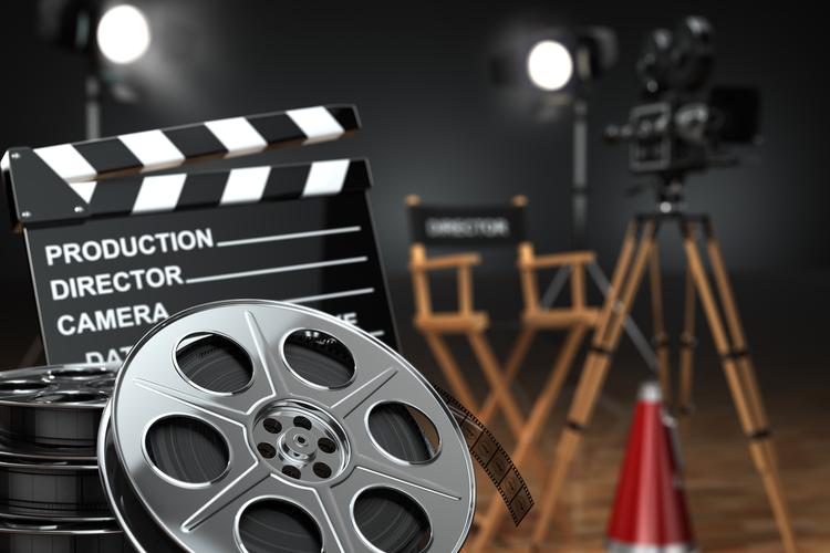 Film reel, clapper, director's chair, film camera